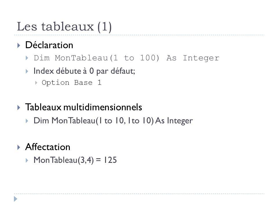 Les tableaux (1) Déclaration Tableaux multidimensionnels Affectation