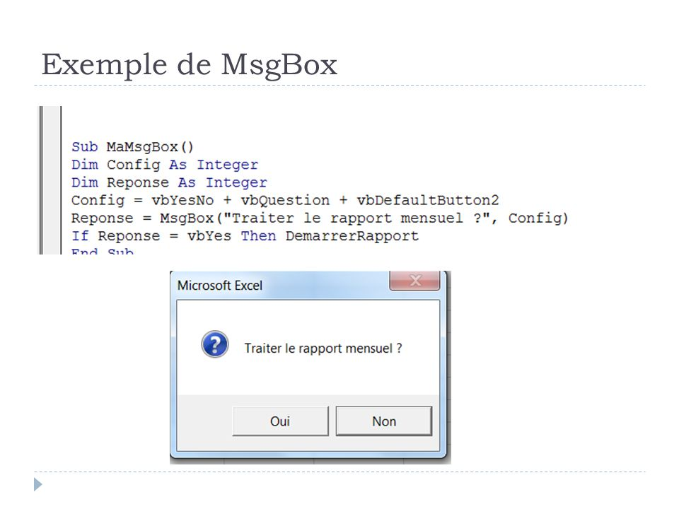 Exemple de MsgBox
