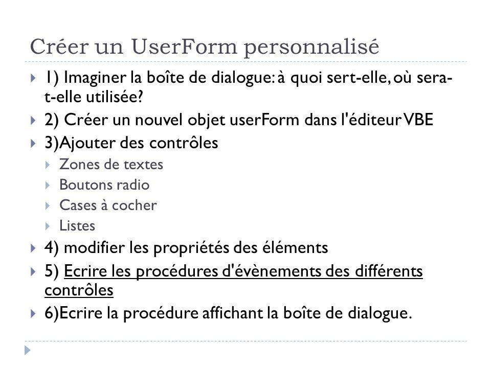 Créer un UserForm personnalisé