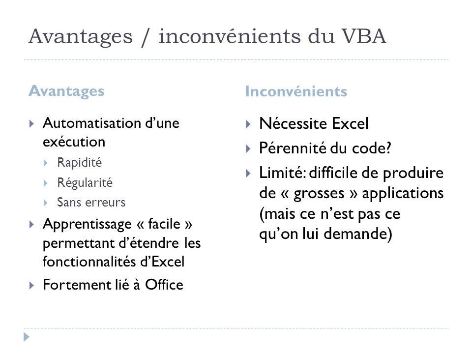 Avantages / inconvénients du VBA