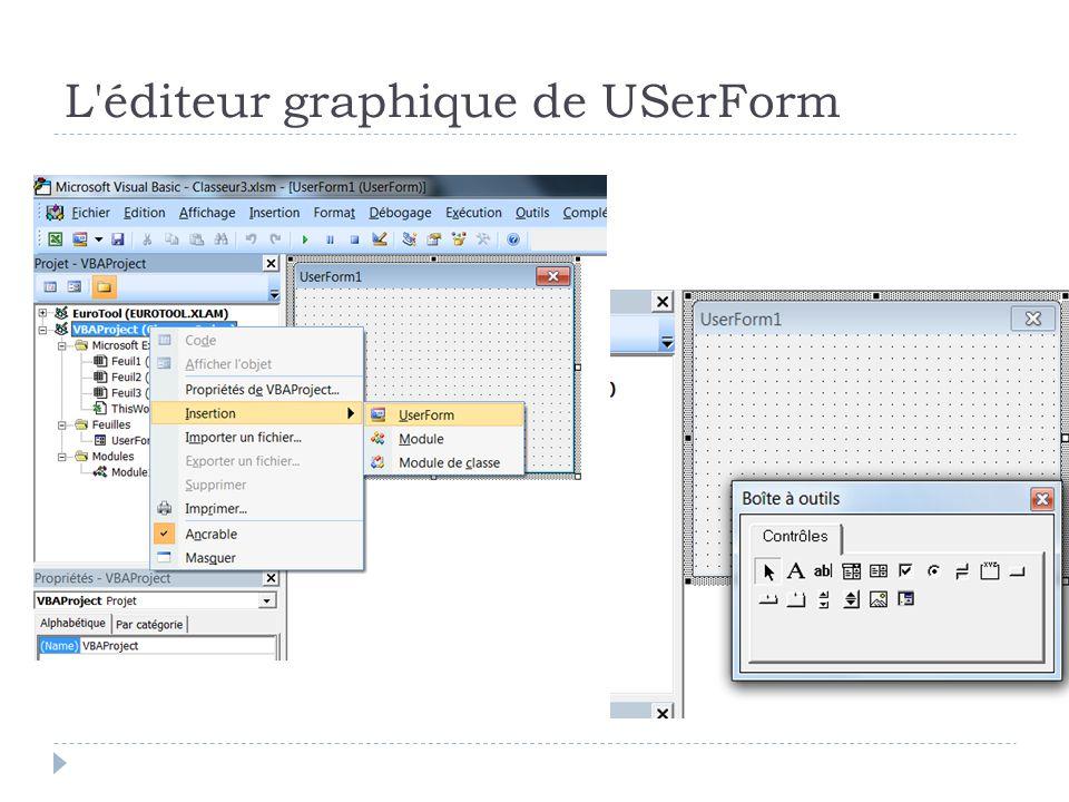 L éditeur graphique de USerForm