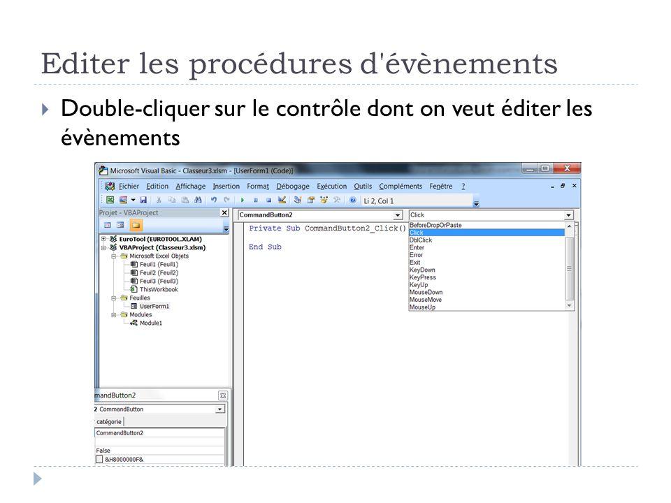 Editer les procédures d évènements