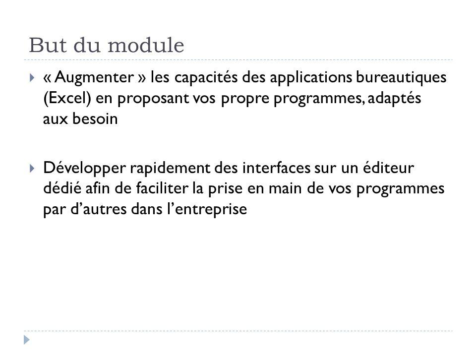 But du module « Augmenter » les capacités des applications bureautiques (Excel) en proposant vos propre programmes, adaptés aux besoin.