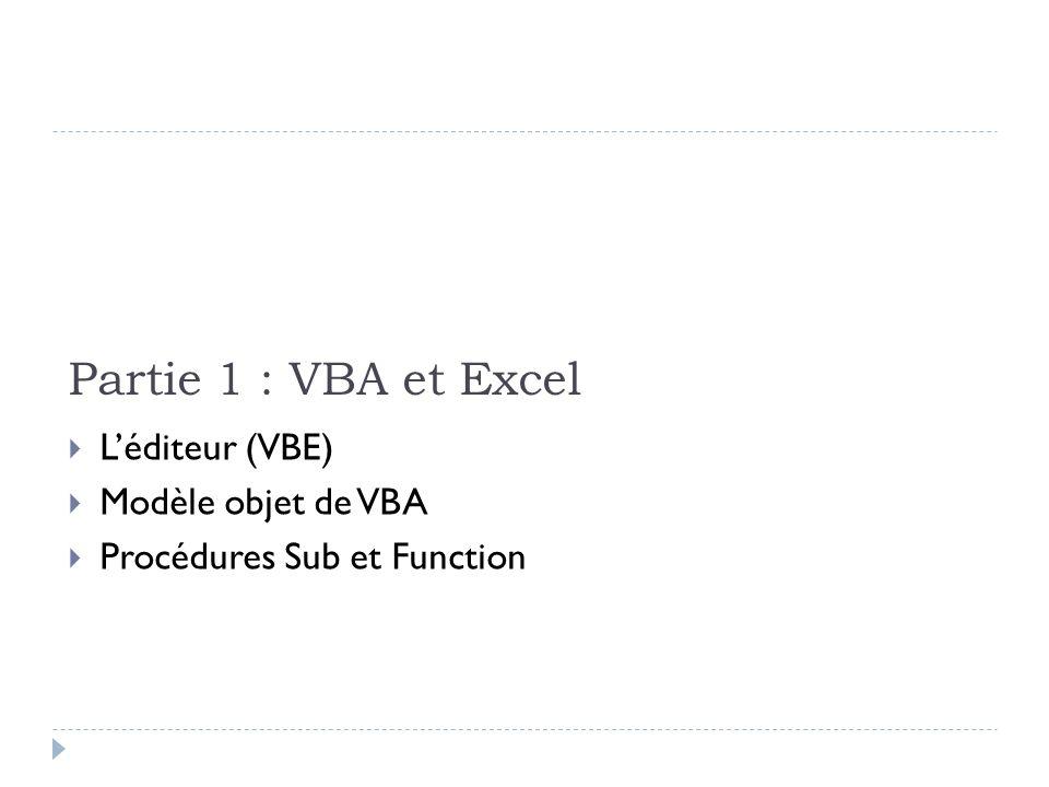 Partie 1 : VBA et Excel L'éditeur (VBE) Modèle objet de VBA