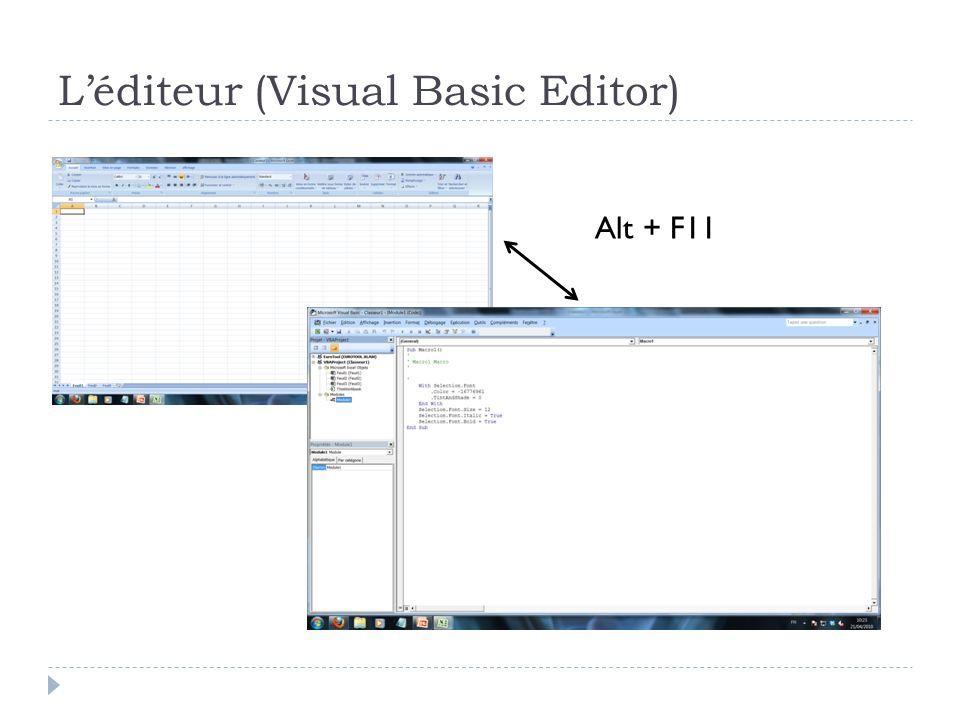 L'éditeur (Visual Basic Editor)