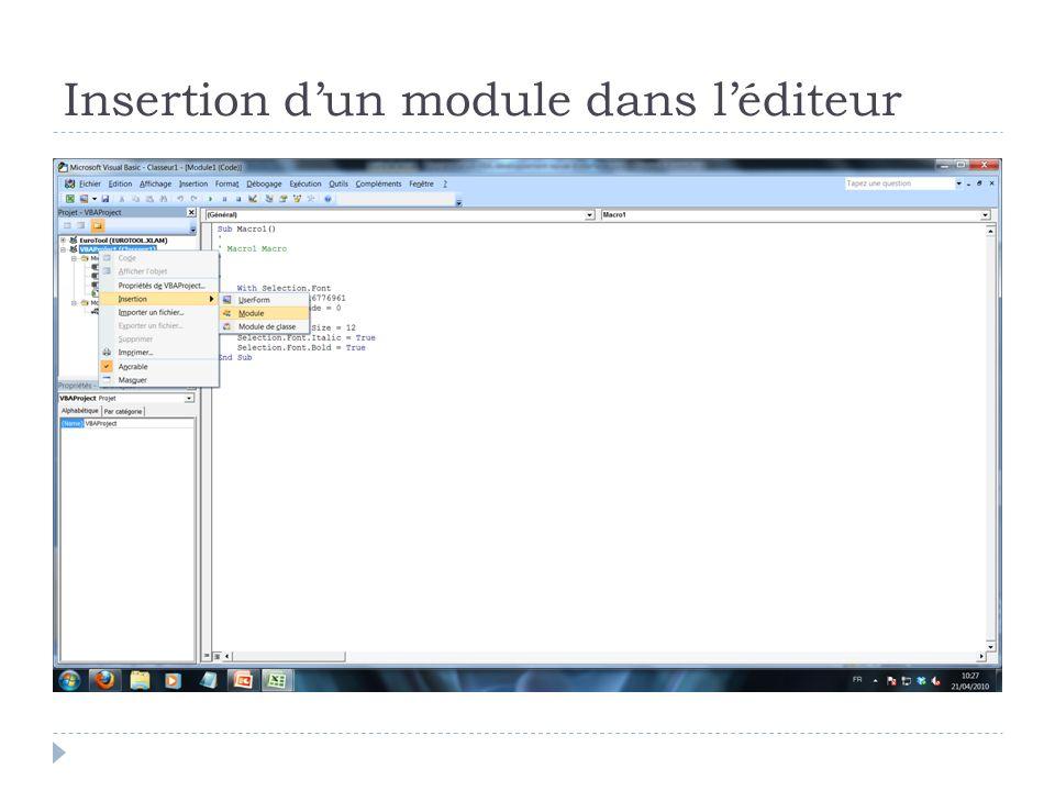 Insertion d'un module dans l'éditeur