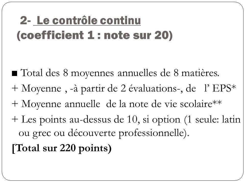 2- Le contrôle continu (coefficient 1 : note sur 20)