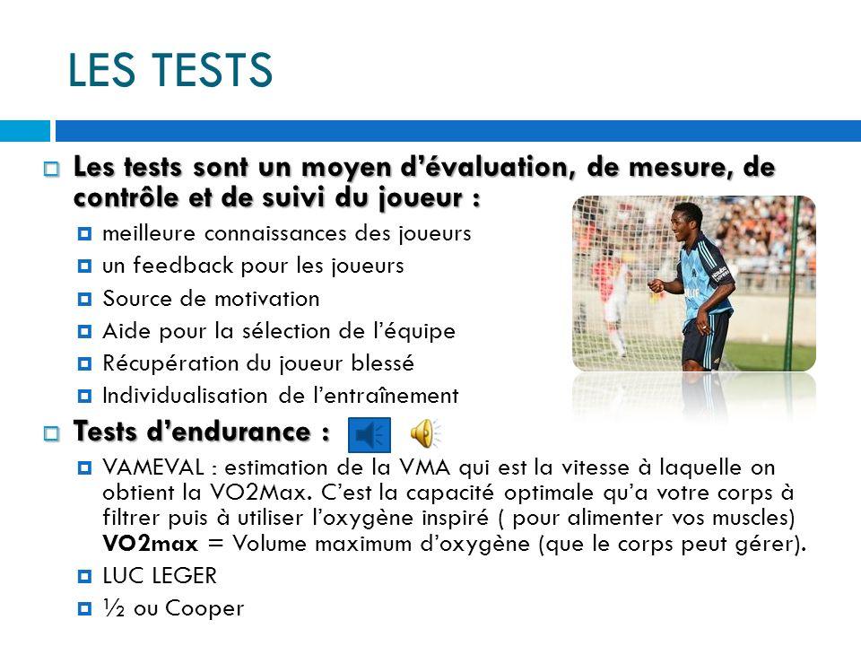 LES TESTS Les tests sont un moyen d'évaluation, de mesure, de contrôle et de suivi du joueur : meilleure connaissances des joueurs.
