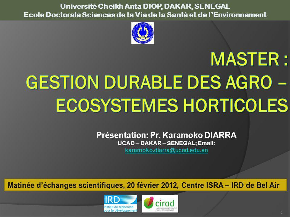 MASTER : GESTION DURABLE DES AGRO – ECOSYSTEMES HORTICOLES