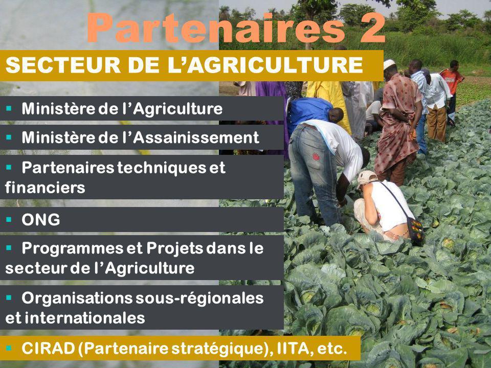 Partenaires 2 SECTEUR DE L'AGRICULTURE Ministère de l'Agriculture