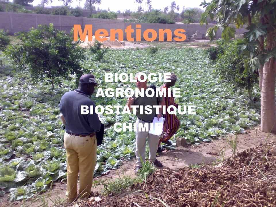 Mentions BIOLOGIE AGRONOMIE BIOSTATISTIQUE CHIMIE