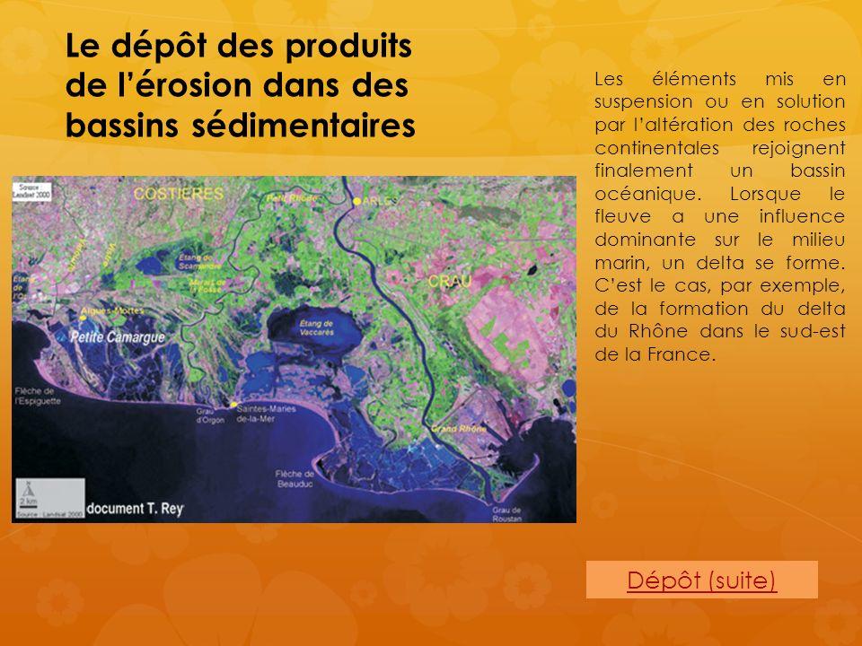 Le dépôt des produits de l'érosion dans des bassins sédimentaires