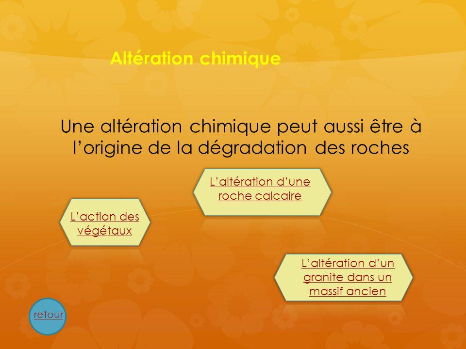 Altération chimiqueUne altération chimique peut aussi être à l'origine de la dégradation des roches.