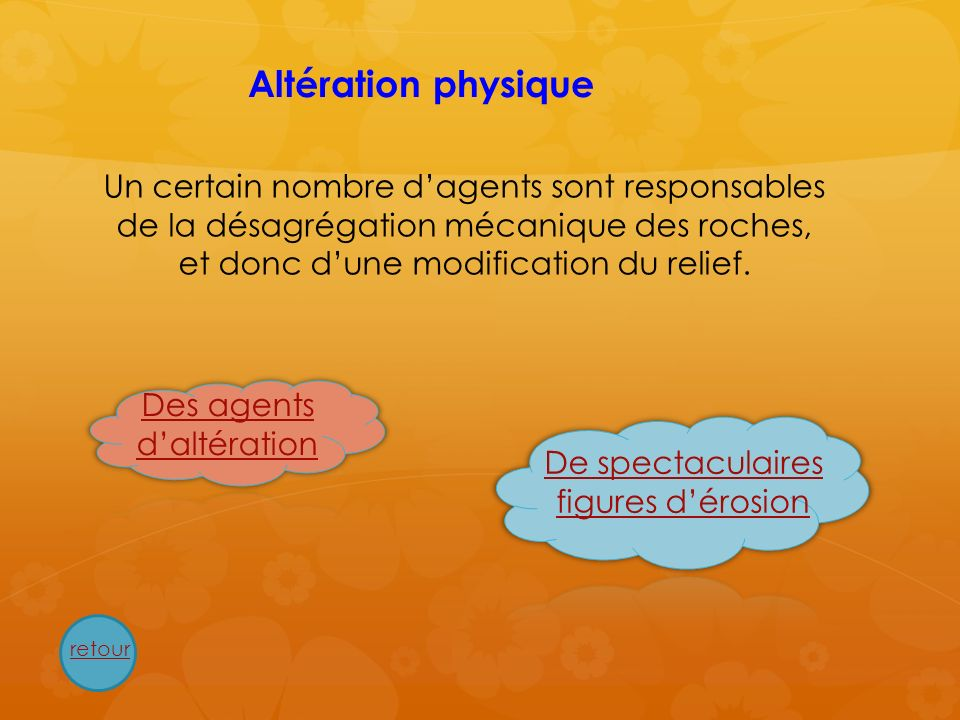 Altération physique Un certain nombre d'agents sont responsables de la désagrégation mécanique des roches, et donc d'une modification du relief.