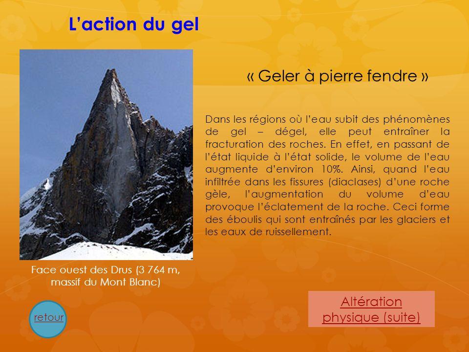 L'action du gel « Geler à pierre fendre » Altération physique (suite)