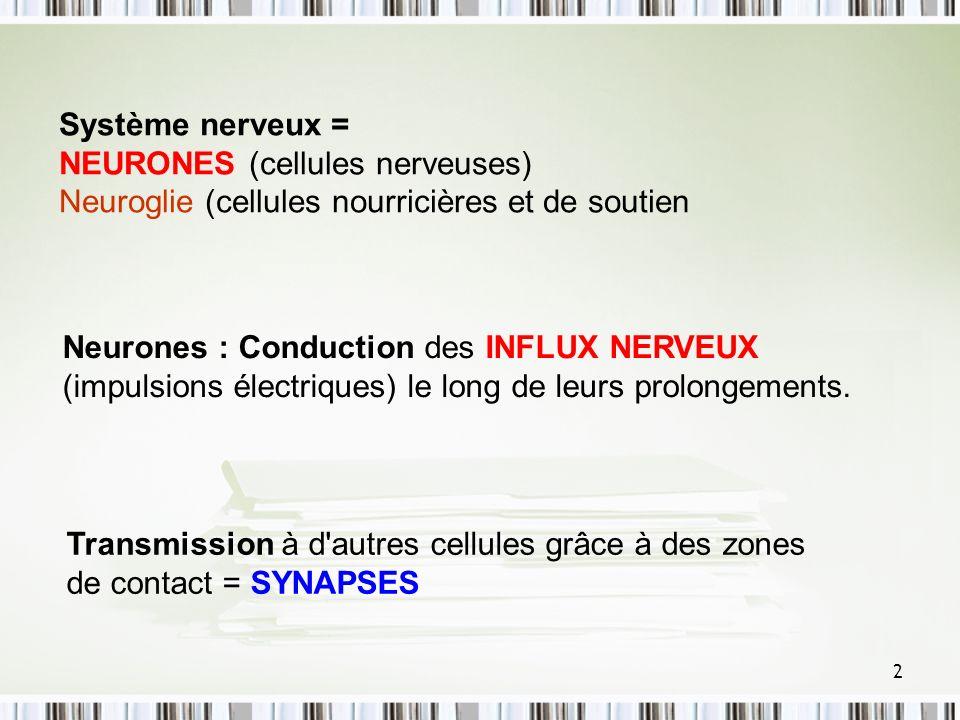 Système nerveux = NEURONES (cellules nerveuses) Neuroglie (cellules nourricières et de soutien.
