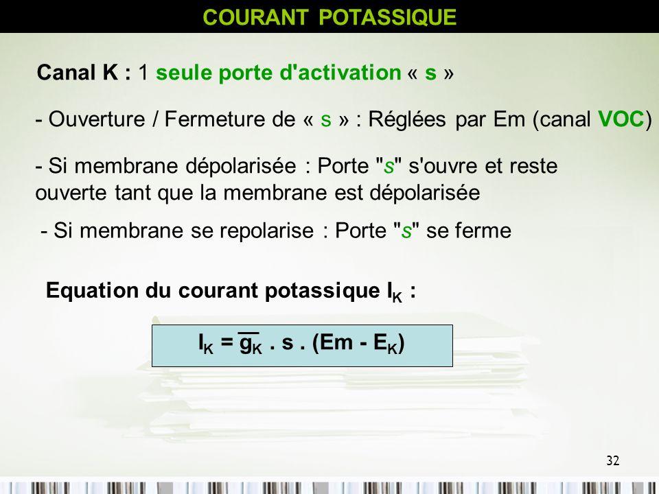 COURANT POTASSIQUE Canal K : 1 seule porte d activation « s » - Ouverture / Fermeture de « s » : Réglées par Em (canal VOC)