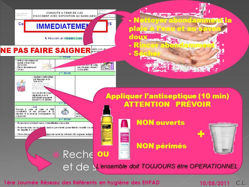 Appliquer l'antiseptique (10 min)