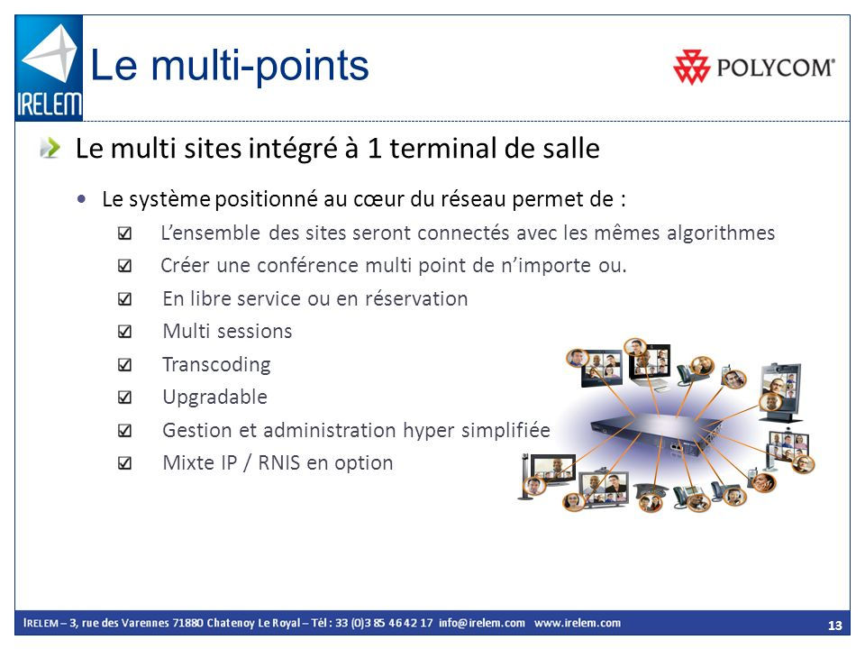 Le multi-points Le multi sites intégré à 1 terminal de salle