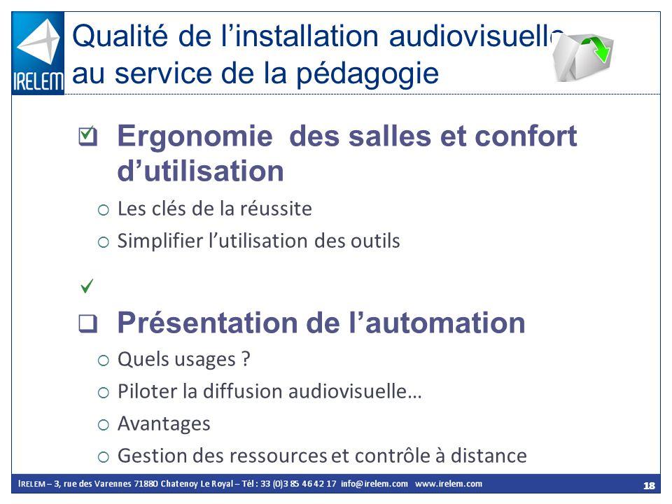 Qualité de l'installation audiovisuelle au service de la pédagogie