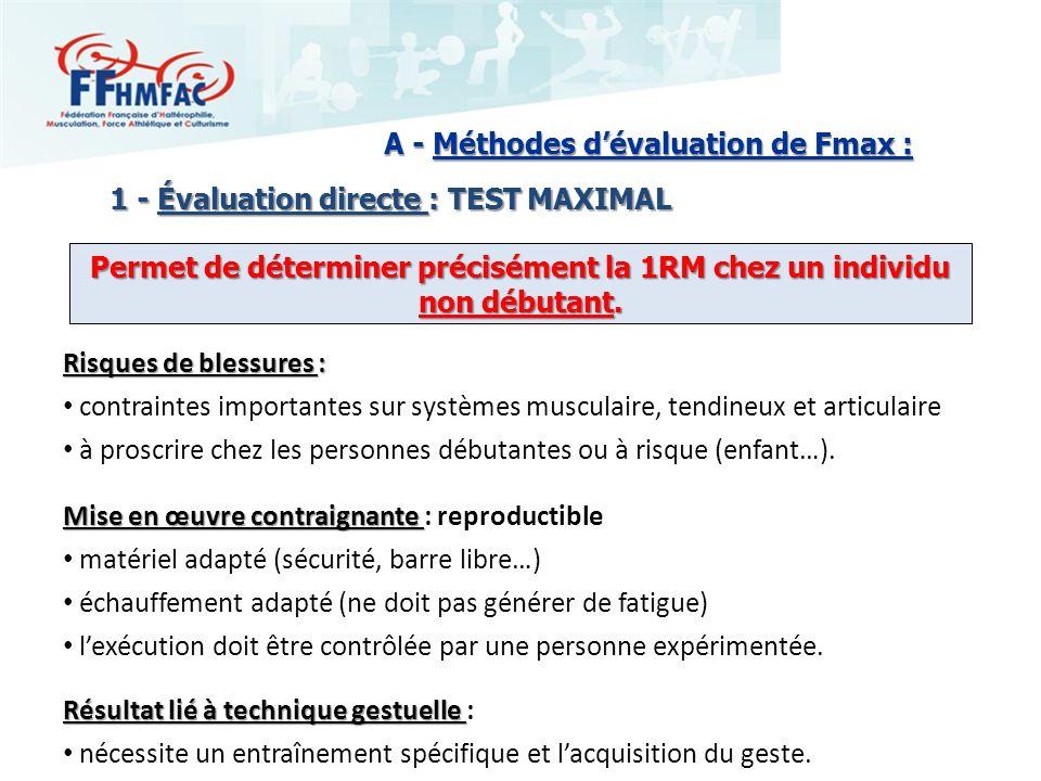 Permet de déterminer précisément la 1RM chez un individu non débutant.