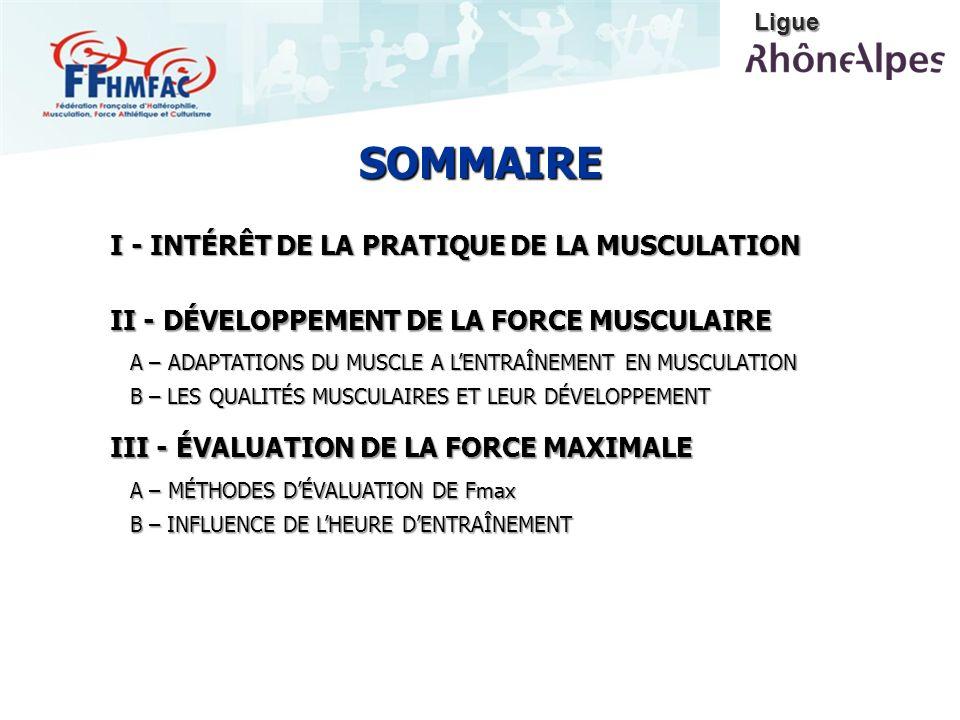 SOMMAIRE I - INTÉRÊT DE LA PRATIQUE DE LA MUSCULATION