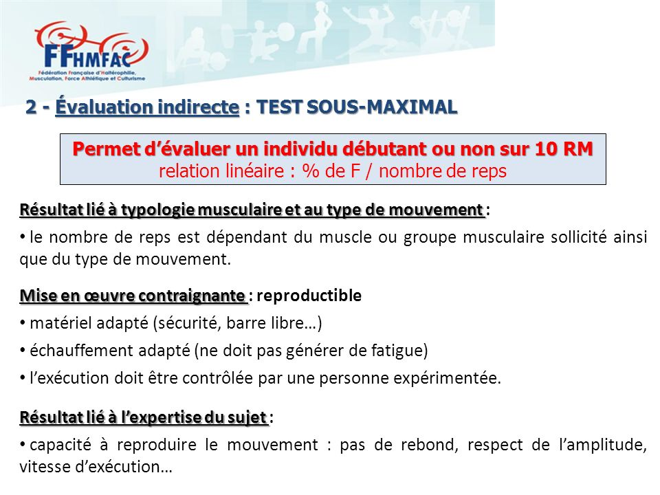 2 - Évaluation indirecte : TEST SOUS-MAXIMAL
