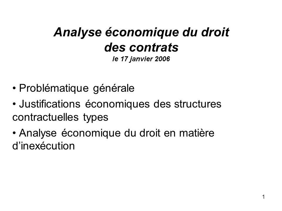 Analyse économique du droit des contrats le 17 janvier 2006