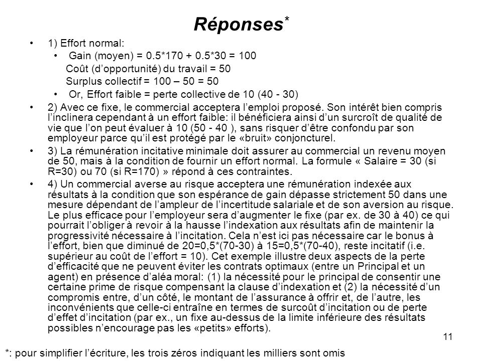 Réponses* 1) Effort normal: Gain (moyen) = 0.5*170 + 0.5*30 = 100