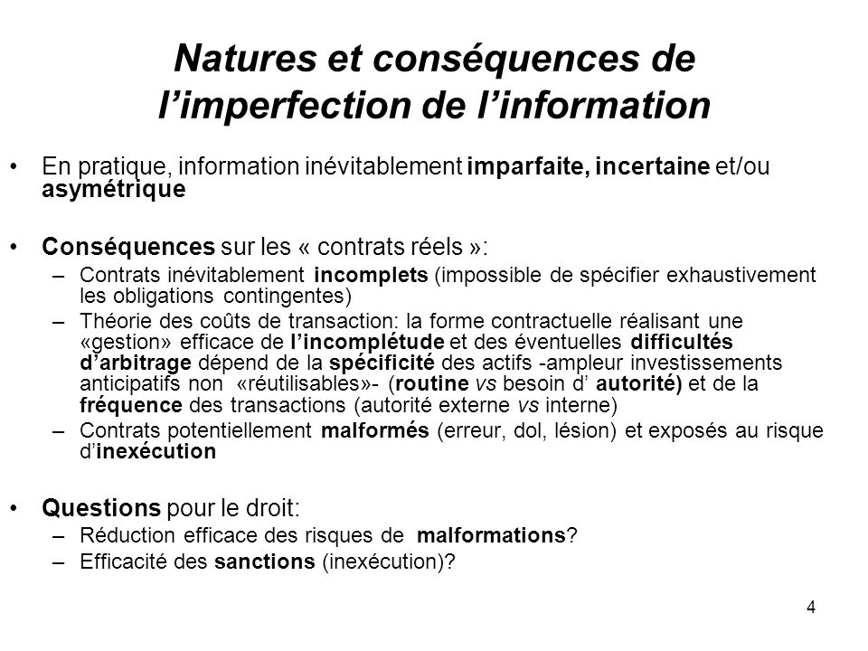 Natures et conséquences de l'imperfection de l'information