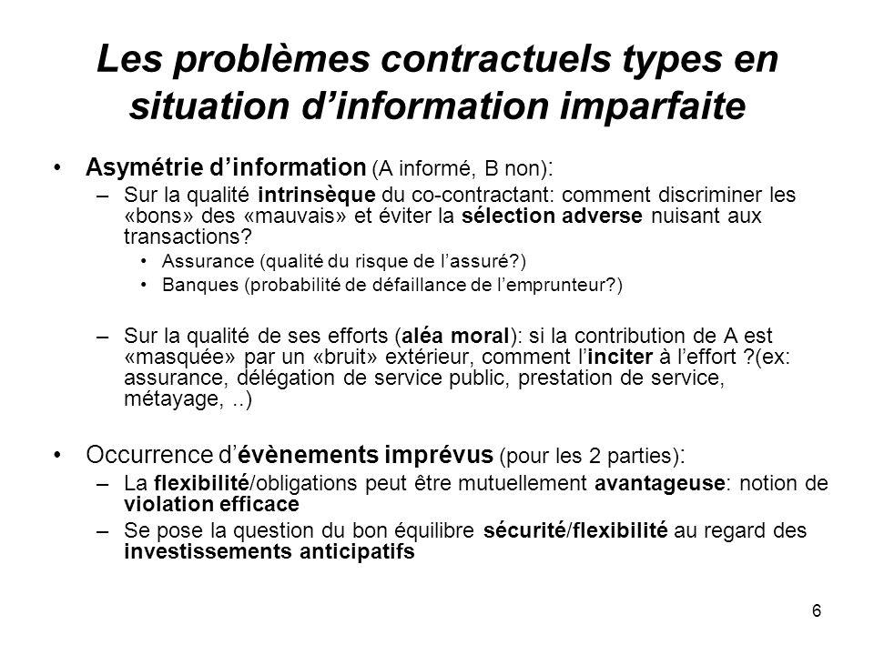 Les problèmes contractuels types en situation d'information imparfaite