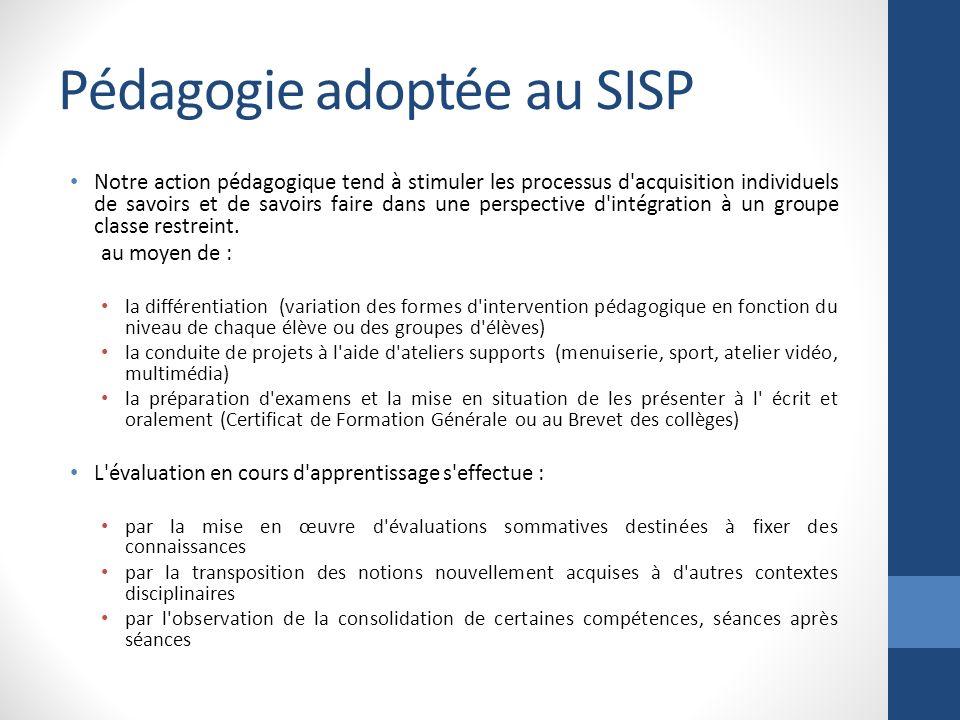 Pédagogie adoptée au SISP