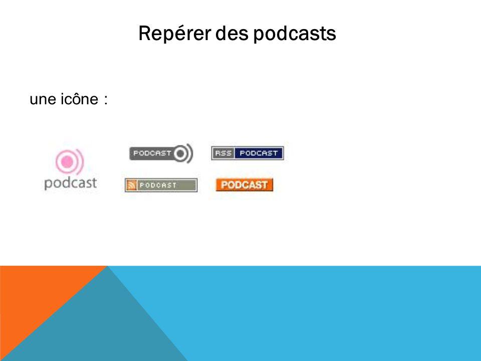 Repérer des podcasts une icône :