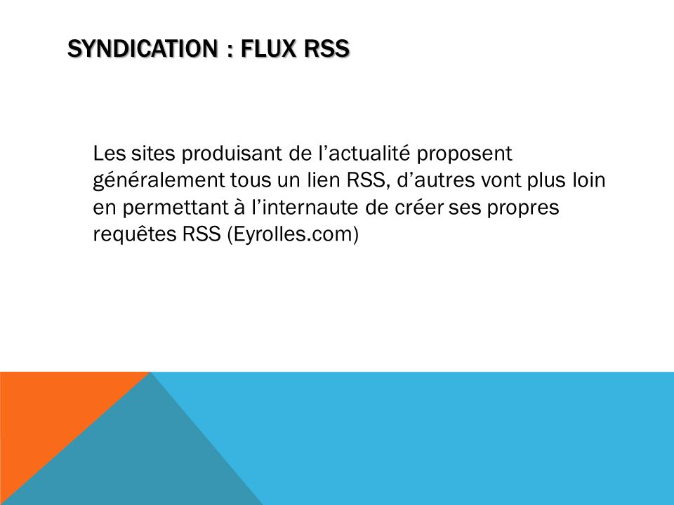 Syndication : flux RSS