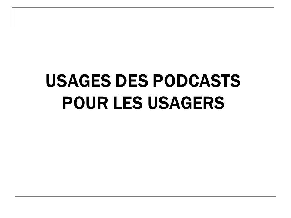 Usages des podcasts pour les usagers