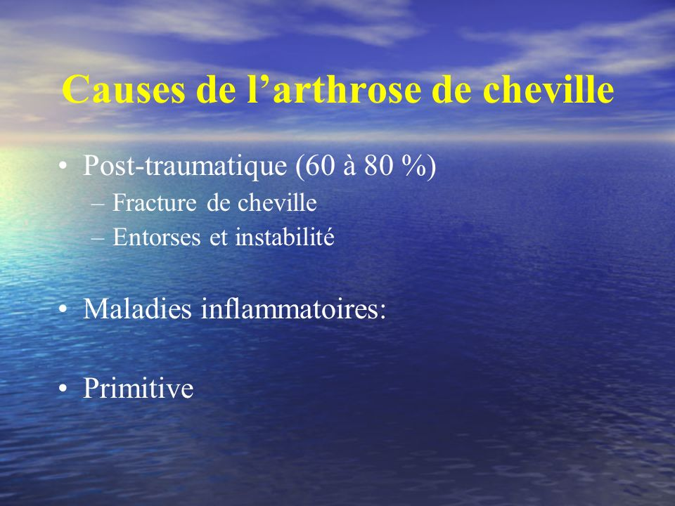 Causes de l'arthrose de cheville