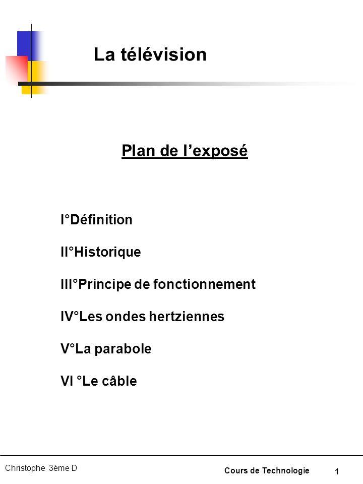 La télévision Plan de l'exposé I°Définition II°Historique