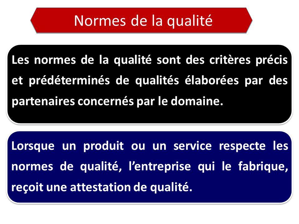 Normes de la qualité