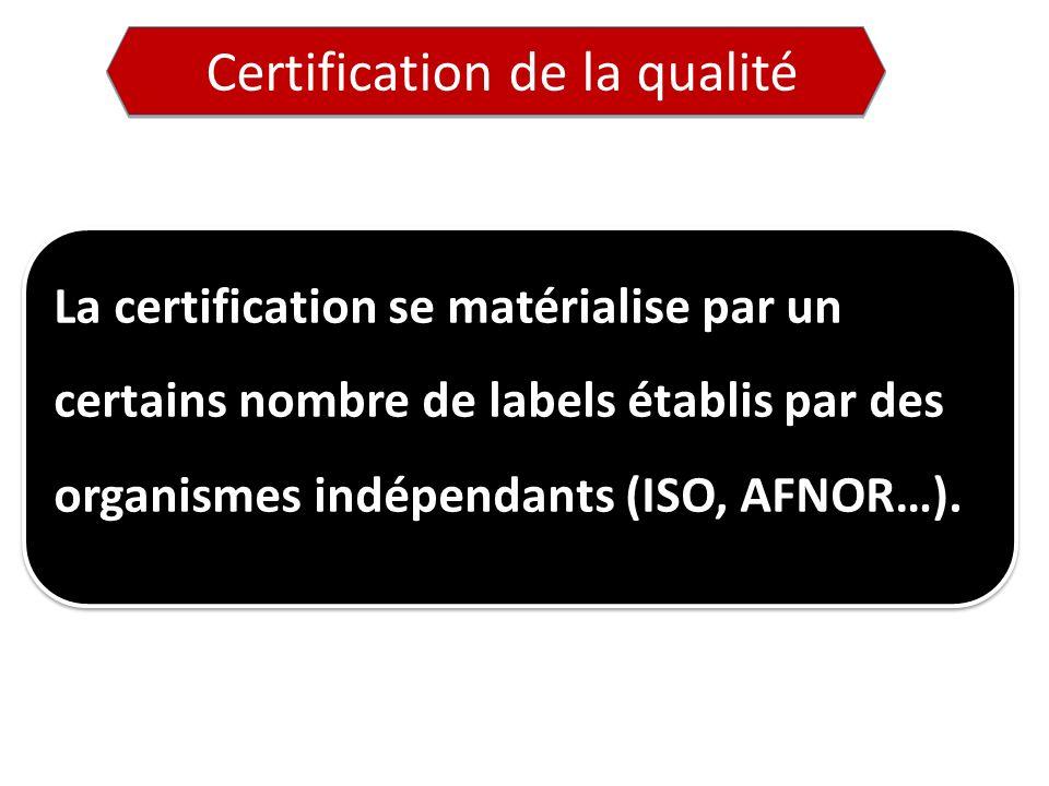 Certification de la qualité