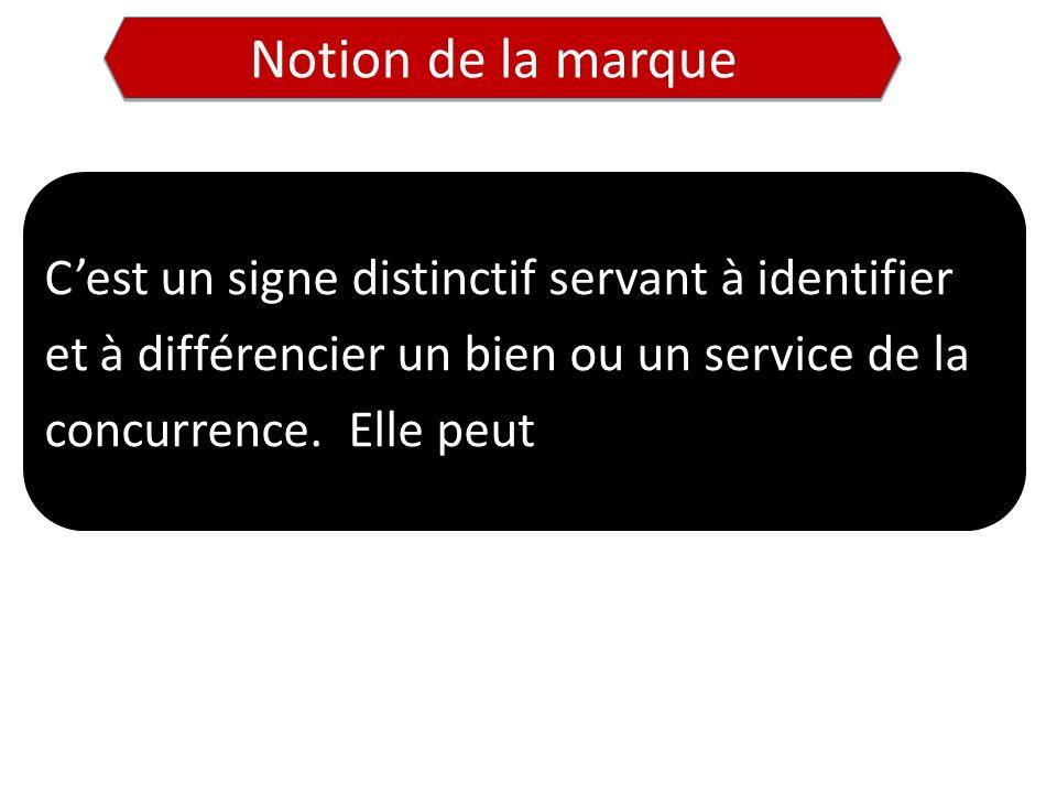 Notion de la marque C'est un signe distinctif servant à identifier et à différencier un bien ou un service de la concurrence.