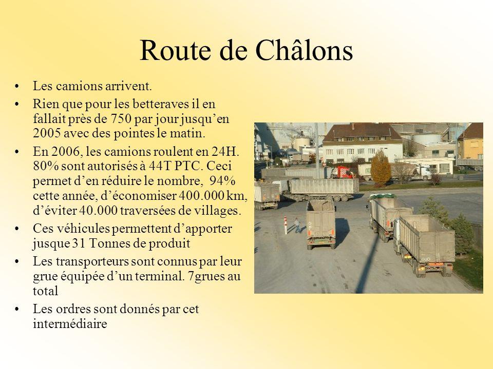 Route de Châlons Les camions arrivent.