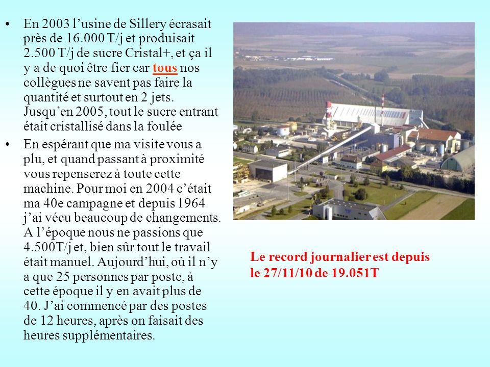 En 2003 l'usine de Sillery écrasait près de 16.000 T/j et produisait 2.500 T/j de sucre Cristal+, et ça il y a de quoi être fier car tous nos collègues ne savent pas faire la quantité et surtout en 2 jets. Jusqu'en 2005, tout le sucre entrant était cristallisé dans la foulée