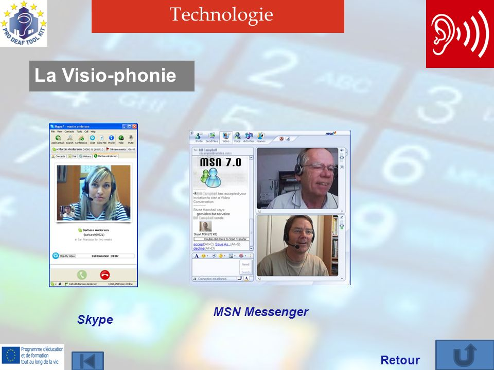 Technologie La Visio-phonie MSN Messenger Skype Retour