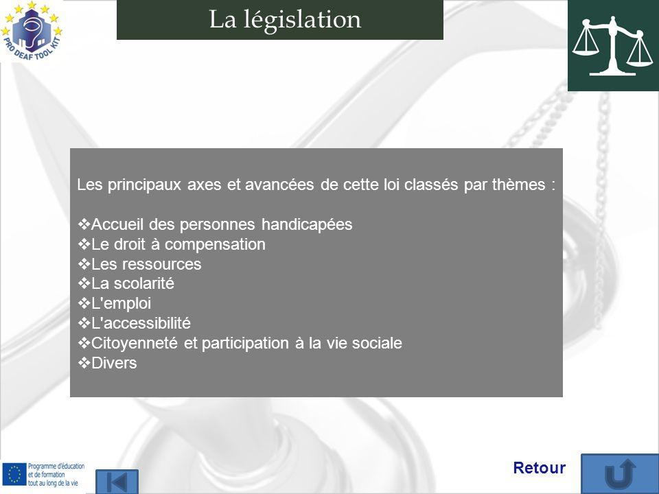 La législation Les principaux axes et avancées de cette loi classés par thèmes : Accueil des personnes handicapées.