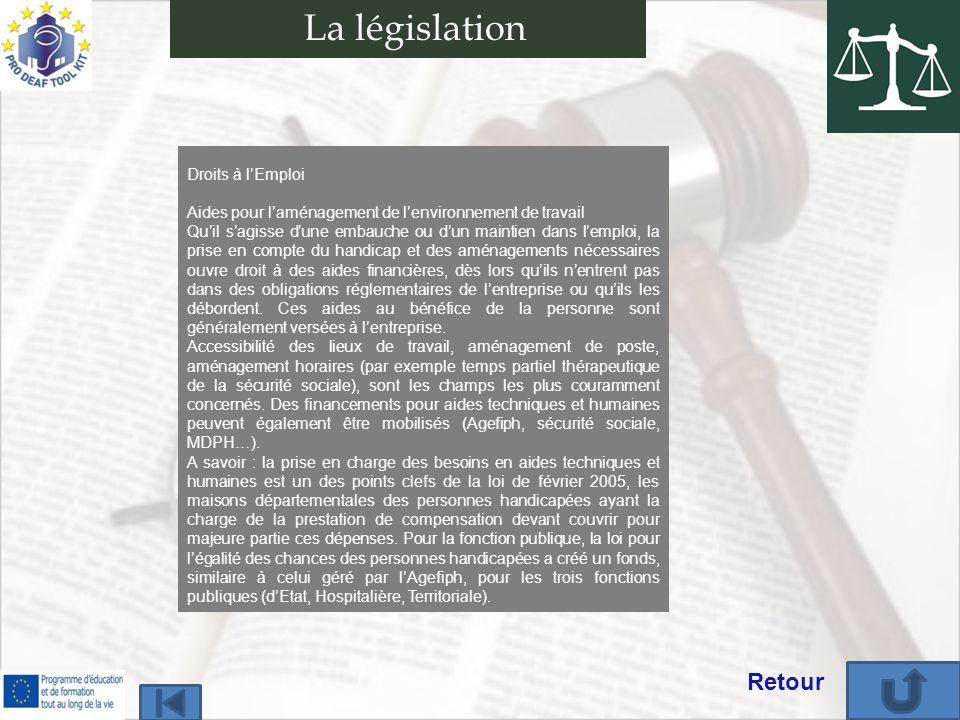 La législation Retour Droits à l'Emploi