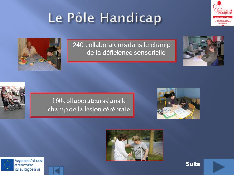 Le Pôle Handicap 240 collaborateurs dans le champ de la déficience sensorielle. 160 collaborateurs dans le champ de la lésion cérébrale.