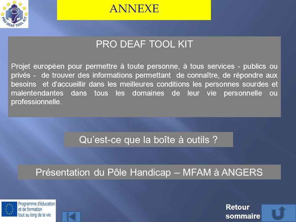 ANNEXE PRO DEAF TOOL KIT Qu'est-ce que la boîte à outils