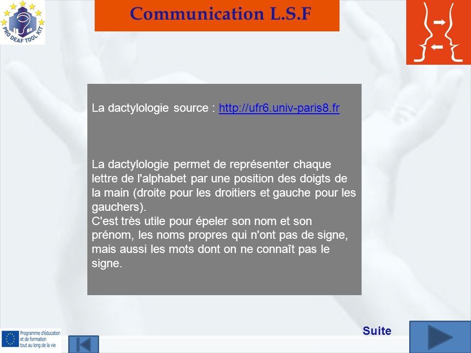 Communication L.S.F La dactylologie source :