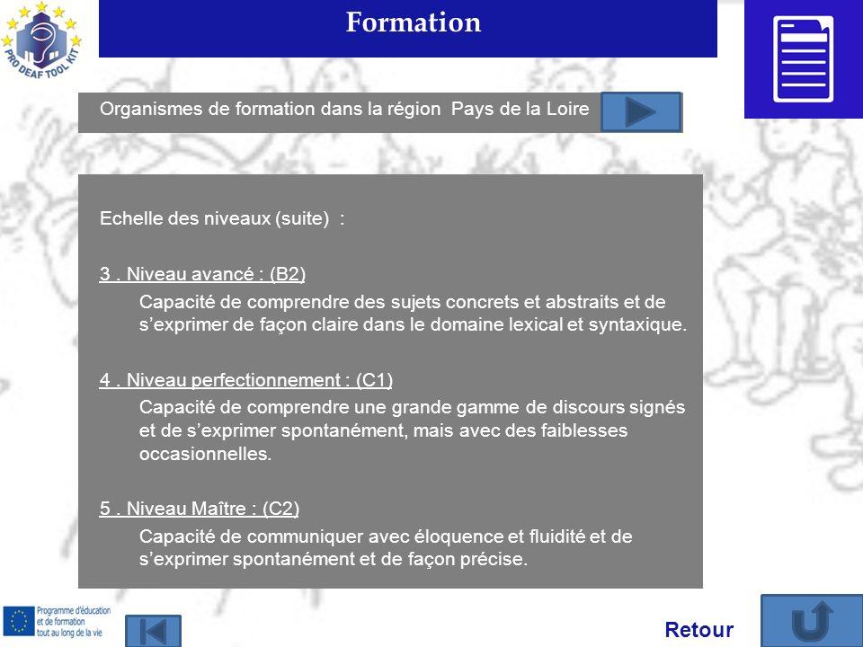 Formation Organismes de formation dans la région Pays de la Loire. Echelle des niveaux (suite) :