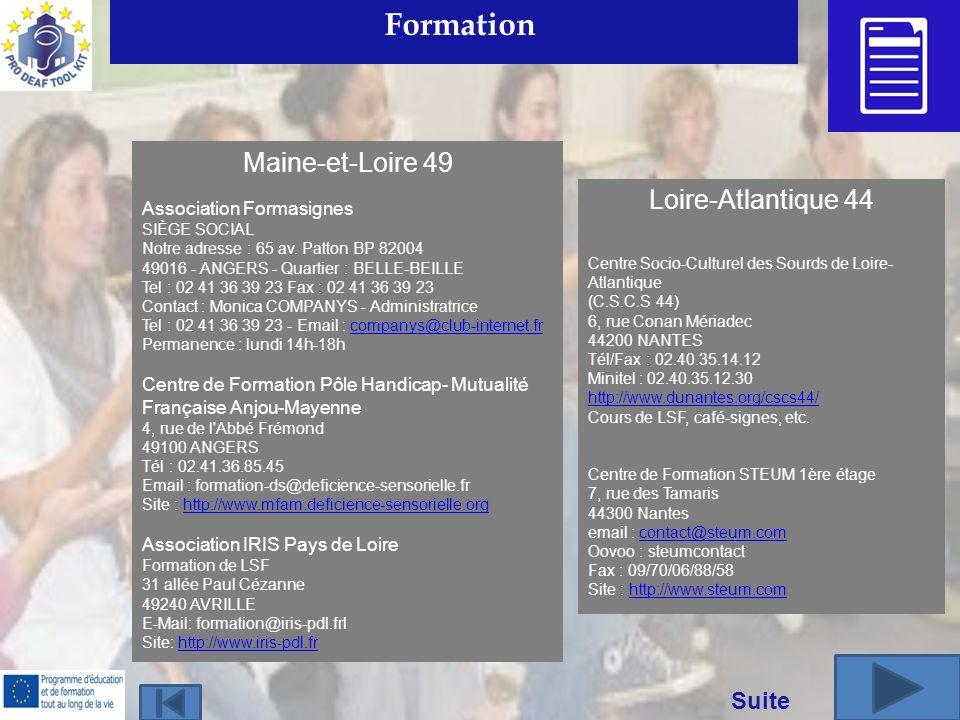 Formation Maine-et-Loire 49 Loire-Atlantique 44 Suite